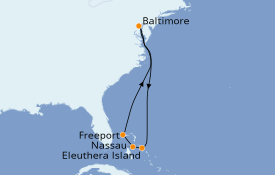 Itinerario de crucero Bahamas 8 días a bordo del Carnival Pride