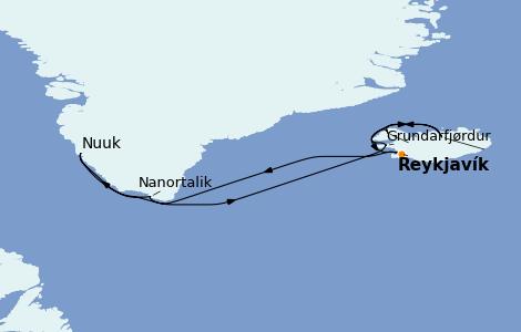 Itinerario del crucero Exploración polar 10 días a bordo del Norwegian Star