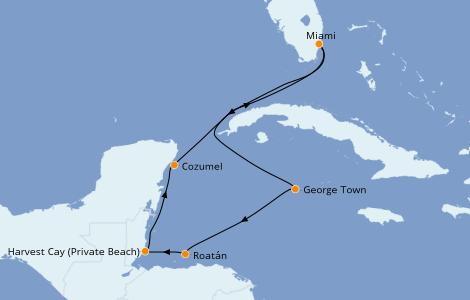 Itinerario del crucero Caribe del Oeste 7 días a bordo del Norwegian Sky