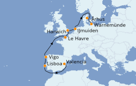 Itinerario de crucero Mediterráneo 11 días a bordo del Costa Fascinosa