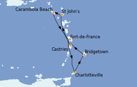 Itinerario de crucero Caribe del Este 8 días a bordo del Seabourn Ovation