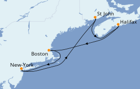 Itinerario de crucero Canadá 8 días a bordo del Norwegian Joy