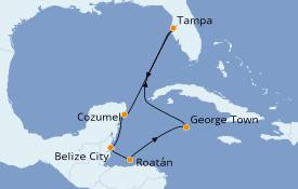 Itinerario de crucero Caribe del Oeste 8 días a bordo del Carnival Pride