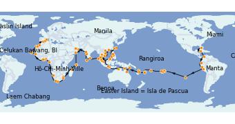 Itinerario de crucero Vuelta al mundo 2023 144 días a bordo del Seven Seas Mariner