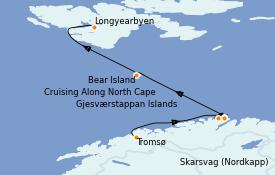 Itinerario de crucero Fiordos y Noruega 10 días a bordo del Silver Cloud Expedition