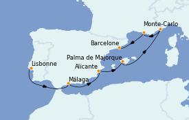 Itinerario de crucero Mediterráneo 8 días a bordo del MS Riviera