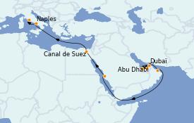 Itinerario de crucero Trasatlántico y Grande Viaje 2023 18 días a bordo del MSC World Europa
