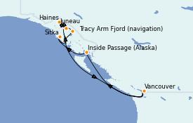 Itinerario de crucero Alaska 8 días a bordo del Serenade of the Seas