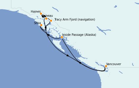 Itinerario del crucero Alaska 7 días a bordo del Serenade of the Seas