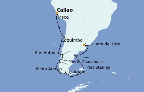 Itinerario del crucero Norteamérica 21 días a bordo del Seven Seas Splendor