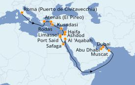 Itinerario de crucero Mar Rojo 22 días a bordo del Norwegian Dawn