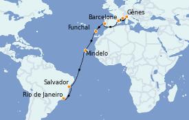 Itinerario de crucero Mediterráneo 18 días a bordo del MSC Poesia