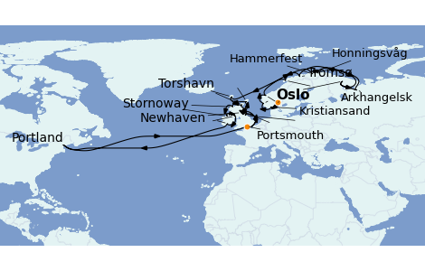 Itinerario del crucero Islas Británicas 28 días a bordo del Riviera