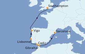 Itinerario de crucero Mediterráneo 8 días a bordo del Crown Princess