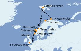 Itinerario de crucero Fiordos y Noruega 17 días a bordo del Island Princess