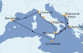 Itinerario de crucero Mediterráneo 13 días a bordo del Carnival Radiance