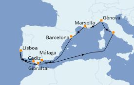 Itinerario de crucero Mediterráneo 11 días a bordo del MSC Magnifica
