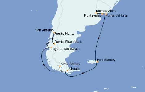 Itinerario del crucero Norteamérica 17 días a bordo del Marina