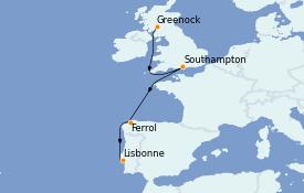 Itinerario de crucero Islas Británicas 11 días a bordo del MSC Virtuosa