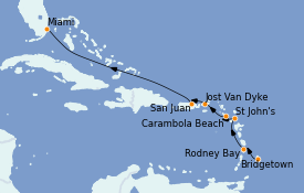 Itinerario de crucero Caribe del Este 9 días a bordo del Seabourn Ovation