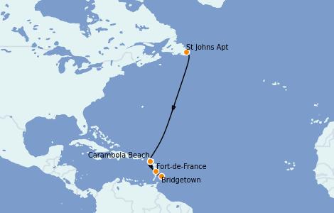 Itinerario del crucero Caribe del Este 10 días a bordo del Seabourn Venture
