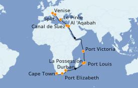 Itinerario de crucero Trasatlántico y Grande Viaje 2021 29 días a bordo del MSC Opera