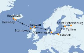 Itinerario de crucero Mar Báltico 11 días a bordo del Le Champlain