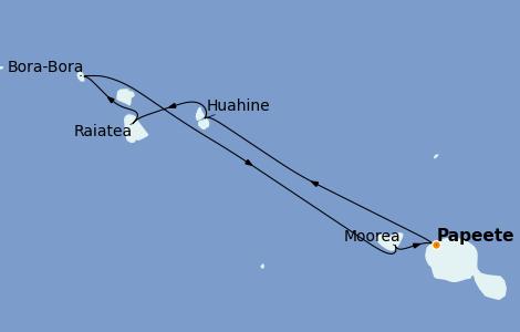 Itinerario del crucero Polinesia 7 días a bordo del Norwegian Spirit