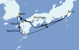 Itinerario de crucero Asia 11 días a bordo del