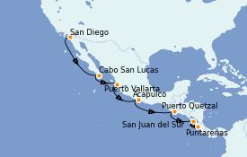 Itinerario de crucero Riviera Mexicana 12 días a bordo del Silver Wind