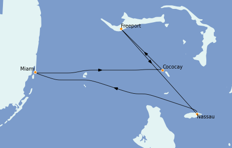 Itinerario del crucero Bahamas 4 días a bordo del Freedom of the Seas