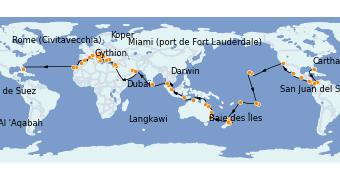 Itinerario de crucero Vuelta al mundo 2023 112 días a bordo del Island Princess