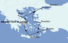 Itinerario de crucero Grecia y Adriático 9 días a bordo del Celestyal Crystal