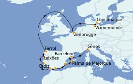 Itinerario de crucero Mediterráneo 15 días a bordo del MSC Poesia