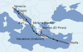 Itinerario de crucero Grecia y Adriático 12 días a bordo del Costa Mediterranea