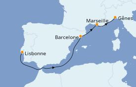 Itinerario de crucero Mediterráneo 5 días a bordo del MSC Splendida