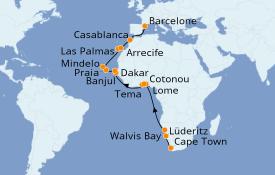 Itinerario de crucero África 31 días a bordo del Seabourn Sojourn