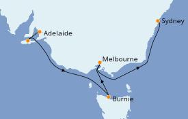 Itinerario de crucero Australia 2020 7 días a bordo del Sun Princess
