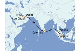 Itinerario de crucero Dubái 14 días a bordo del Queen Mary 2