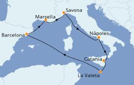 Itinerario de crucero Mediterráneo 8 días a bordo del Costa Fascinosa