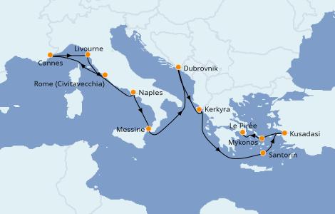 Itinerario del crucero Grecia y Adriático 10 días a bordo del Norwegian Getaway