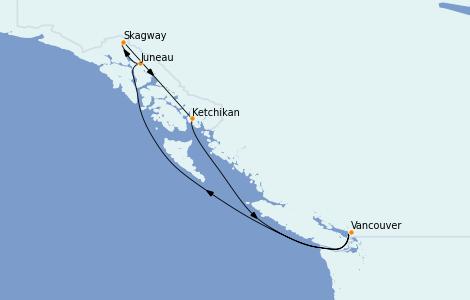 Itinerario del crucero Alaska 7 días a bordo del Norwegian Jewel