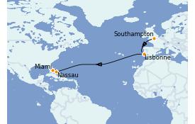 Itinerario de crucero Trasatlántico y Grande Viaje 2021 13 días a bordo del Adventure of the Seas