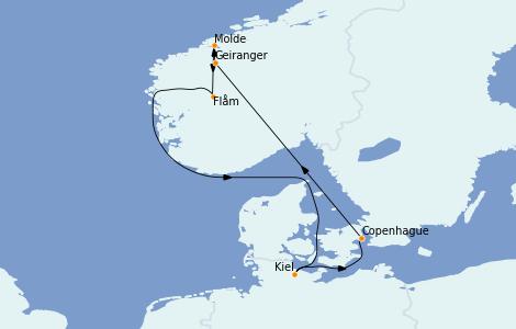 Itinerario del crucero Fiordos y Noruega 7 días a bordo del MSC Grandiosa