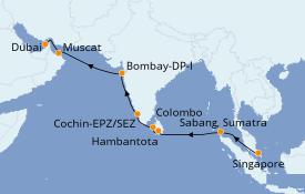 Itinerario de crucero India 18 días a bordo del Azamara Quest