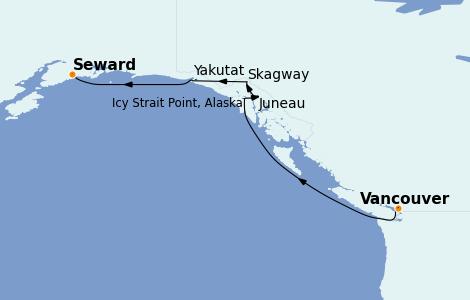Itinerario del crucero Alaska 7 días a bordo del Norwegian Spirit