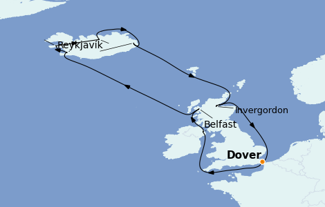 Itinerario del crucero Islas Británicas 12 días a bordo del Carnival Pride