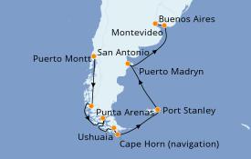 Itinerario de crucero Suramérica 15 días a bordo del Coral Princess