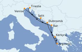 Itinerario de crucero Grecia y Adriático 7 días a bordo del MSC Lirica