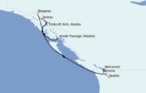Itinerario del crucero Alaska 7 días a bordo del Ovation of the Seas